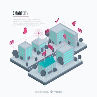 Muestra fondo isométrico ciudad inteligente