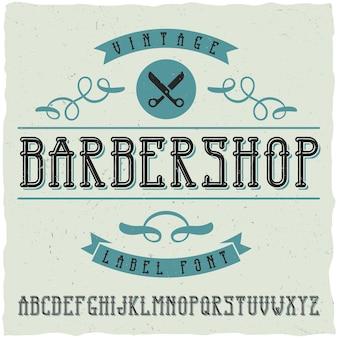Muestra y fuente de etiqueta de peluquería