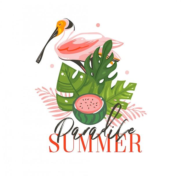 Muestra de ilustraciones de horario de verano de dibujos animados gráficos abstractos dibujados a mano con aves tropicales, hojas de palmeras tropicales, sandía y cita de tipografía paradise summer sobre fondo blanco