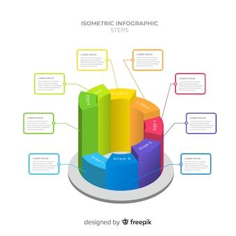 Muestra infografía barras coloridas isométricas