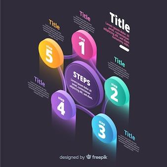 Muestra infografía círculos coloridos isométricos