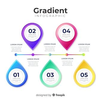 Muestra infografía degradada colorida