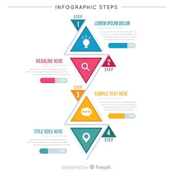 Muestra infografía por pasos plana