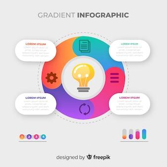 Muestra infografía plana degradada