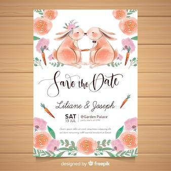 Muestra invitación boda animales acuarela