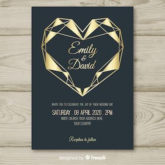 Muestra invitación boda corazón geométrico