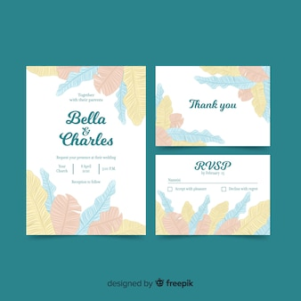 Muestra invitación boda hojas de palmera de colores pastel