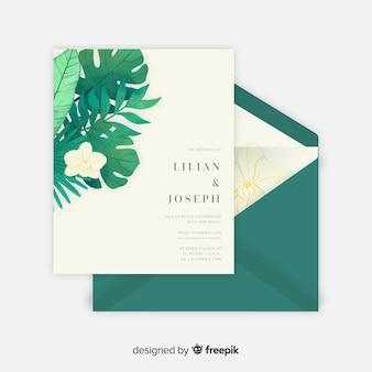 Muestra invitación boda hojas tropicales acuarela