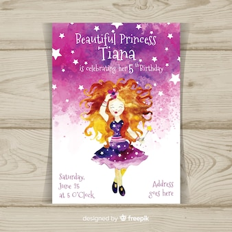 Muestra invitación fiesta de princesas acuarela