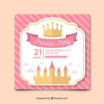 Muestra invitación fiesta de princesas castillo plano