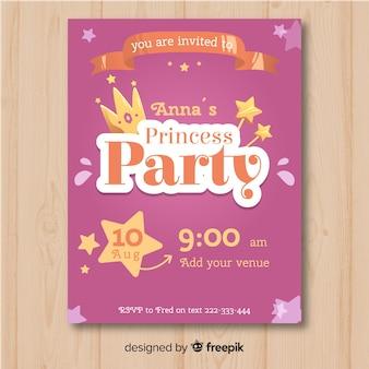 Muestra invitación fiesta de princesas dibujada a mano