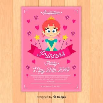 Muestra invitación fiesta de princesas plana