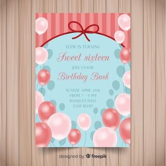 Muestra invitación globos realistas dieciséis cumpleaños