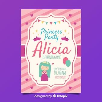 Muestra invitación plana fiesta de princesas