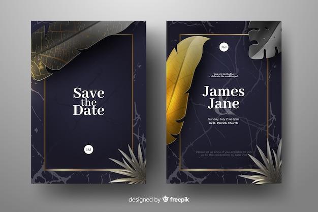 Muestra invitaciones de boda hojas palmera doradas realistas