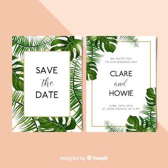 Muestra invitaciones de boda hojas palmera realistas