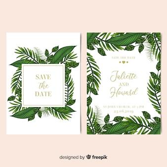 Muestra invitaciones de boda marco hojas palmera realistas