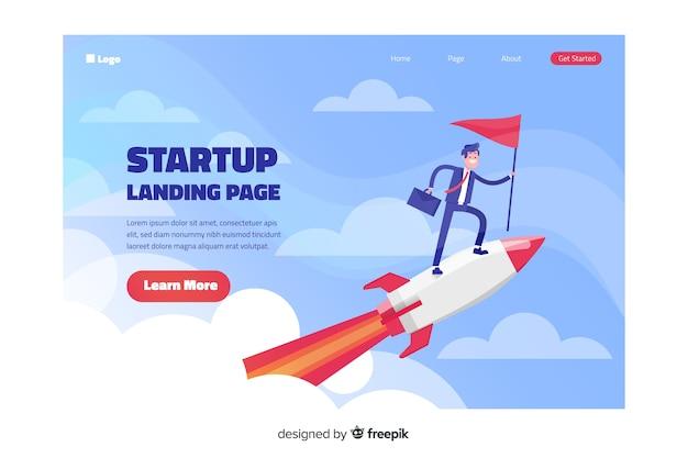 Muestra landing page con un cohete