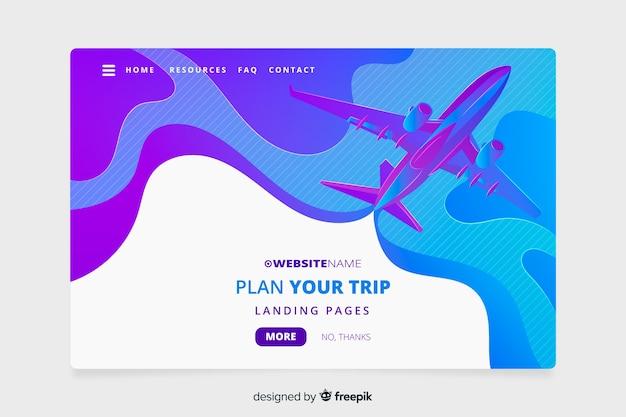 Muestra landing page plano de viajes