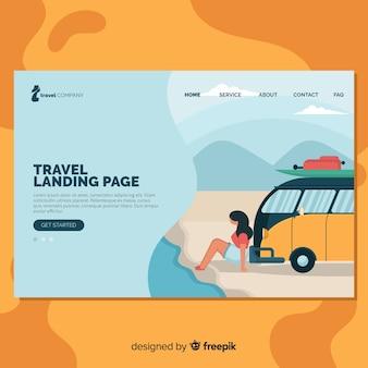 Muestra landing page de viaje plana