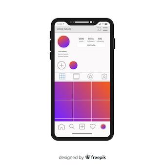 Muestra de marco de fotos de instagram en iphone