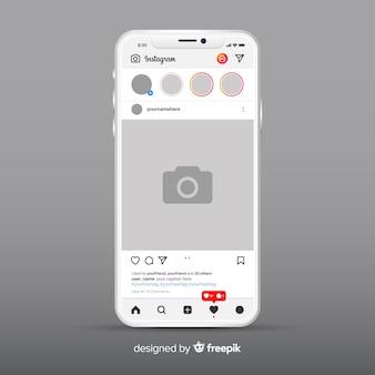 Muestra de marco de fotos de instagram en smartphone