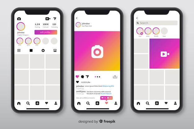 Muestra de marco de fotos de instagram en smartphones