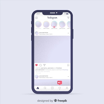 Muestra marco instagram realista en iphone