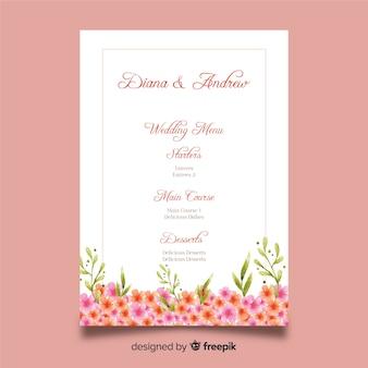 Muestra menú de boda floral acuarela