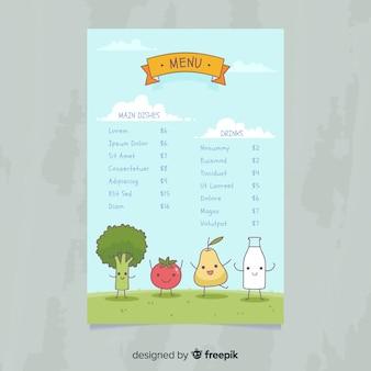 Muestra menú comida fresca