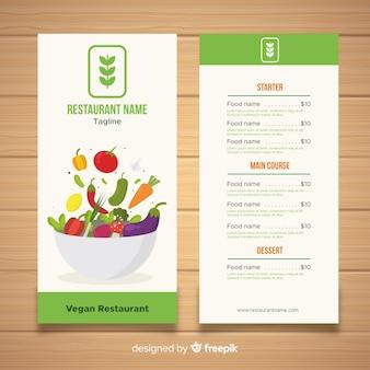 Muestra menú comida orgánica