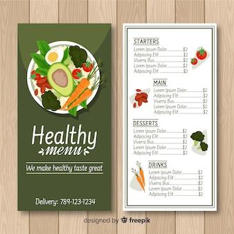 Muestra menú saludable colorido