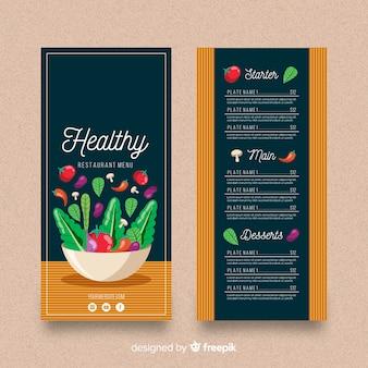 Muestra menú saludable plano