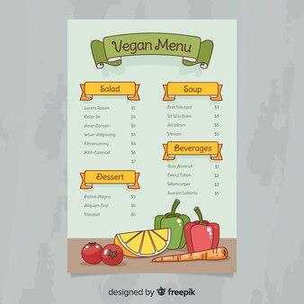 Muestra menú saludable vegano