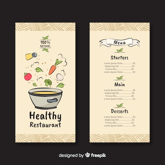 Muestra menú saludable