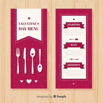 Muestra menú san valentín cubertería plana