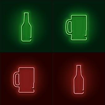 Muestra de neón, cerveza y vaso de cerveza