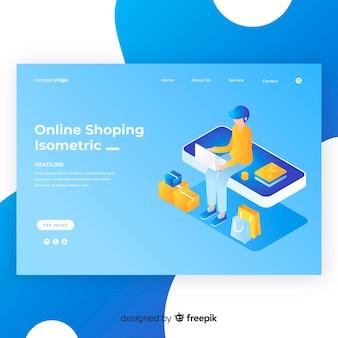 Muestra página de destino de compras isométrica