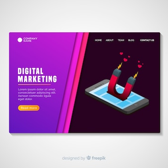 Muestra página de destino marketing digital
