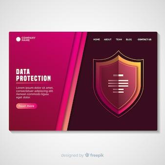 Muestra página de destino protección de datos