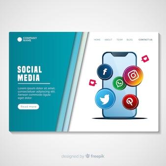Muestra página de destino redes sociales