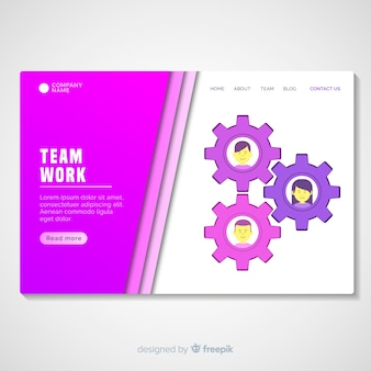 Muestra página de destino trabajo en equipo