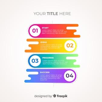 Muestra pasos infografía coloridos