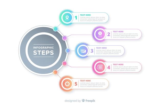 Muestra pasos infografía degradados