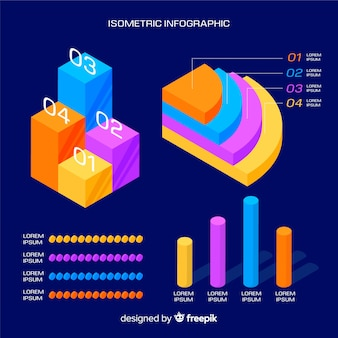 Muestra pasos infografía isométrica