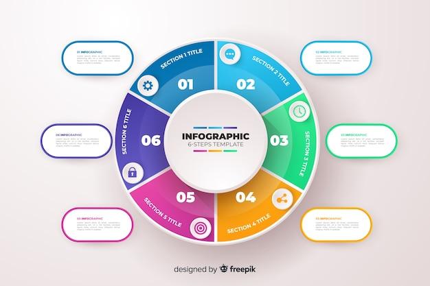 Muestra pasos de infografía de negocios plana