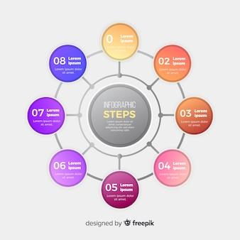Muestra pasos de infografía planos