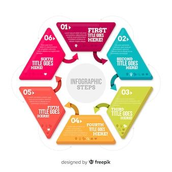 Muestra pasos planos infografía hexágono