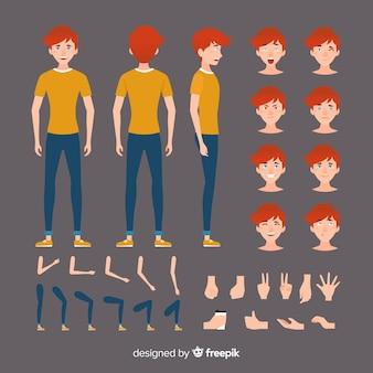 Muestra personaje chico dibujos animados