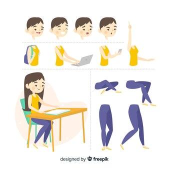 Muestra personaje estudiante dibujos
